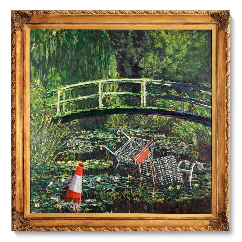 Show Me the Monet a painting of a bridge by Banksy