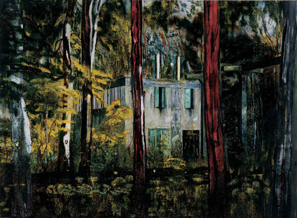 Boiler House a painting of a house by Peter Doig