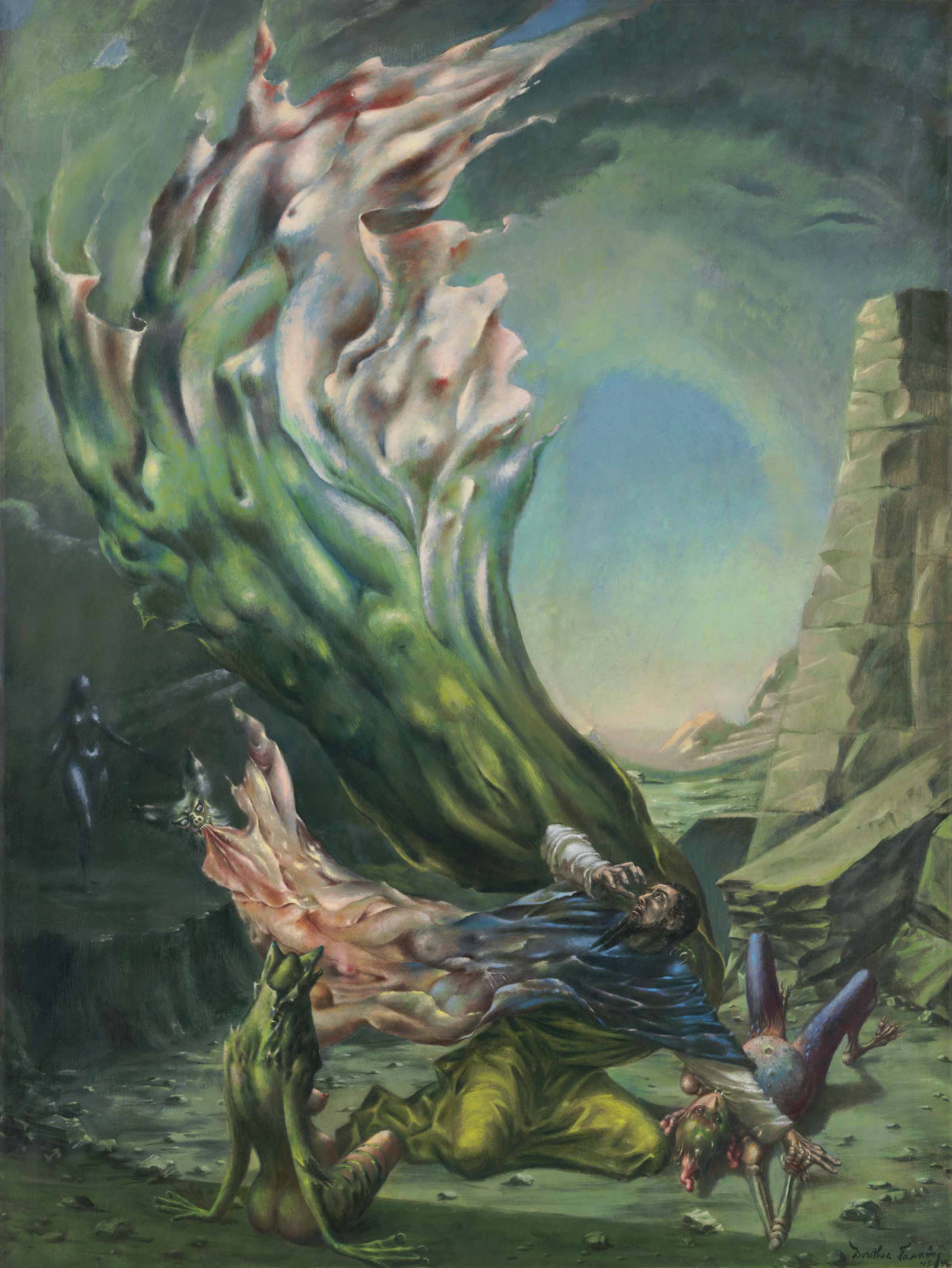 The Temptation of St. Anthony a painting by Dorothea Tanning