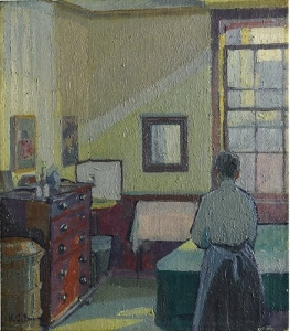 Interior Mrs Mounter a painting of a woman in a room by Harold Gilman