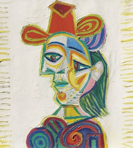 Buste de femme (Dora Maar) an abstract painting of a person by Pablo Picasso